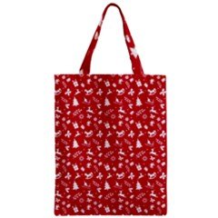 Red Christmas Pattern Zipper Classic Tote Bag