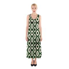 Green Ornate Christmas Pattern Sleeveless Maxi Dress