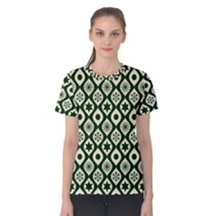 Green Ornate Christmas Pattern Women s Cotton Tee