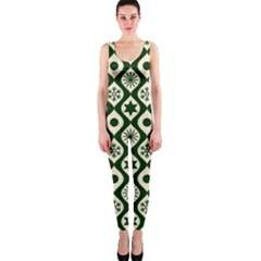 Green Ornate Christmas Pattern Onepiece Catsuit