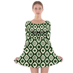 Green Ornate Christmas Pattern Long Sleeve Skater Dress