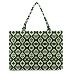 Green Ornate Christmas Pattern Zipper Medium Tote Bag