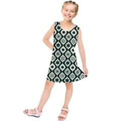 Green Ornate Christmas Pattern Kids  Tunic Dress