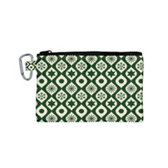 Green Ornate Christmas Pattern Canvas Cosmetic Bag (small)