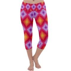 Texture Surface Orange Pink Capri Yoga Leggings