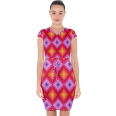 Texture Surface Orange Pink Capsleeve Drawstring Dress