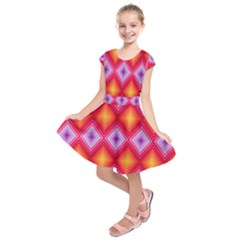Texture Surface Orange Pink Kids  Short Sleeve Dress