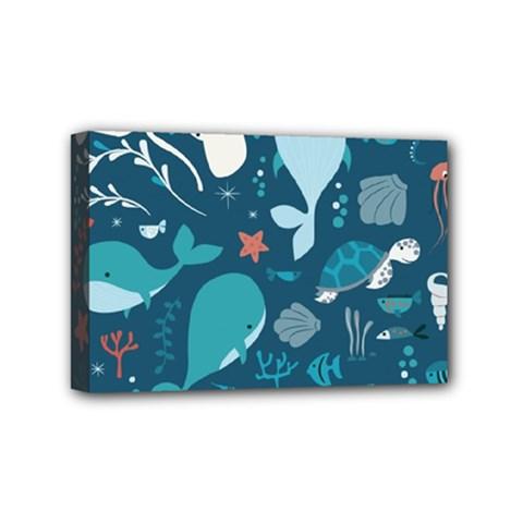 Cool Sea Life Pattern Mini Canvas 6  X 4