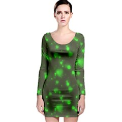 Neon Green Bubble Hearts Long Sleeve Bodycon Dress