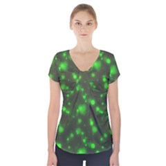 Neon Green Bubble Hearts Short Sleeve Front Detail Top