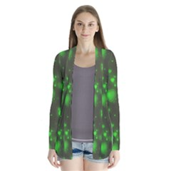 Neon Green Bubble Hearts Drape Collar Cardigan