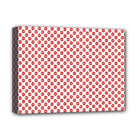Sexy Red And White Polka Dot Deluxe Canvas 16  X 12