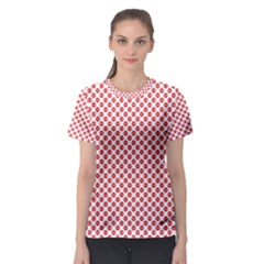 Sexy Red And White Polka Dot Women s Sport Mesh Tee