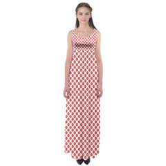 Sexy Red And White Polka Dot Empire Waist Maxi Dress