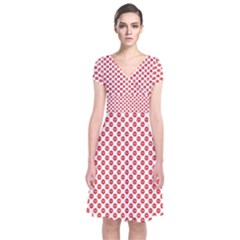 Sexy Red And White Polka Dot Short Sleeve Front Wrap Dress