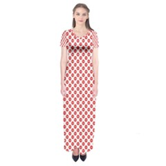 Sexy Red And White Polka Dot Short Sleeve Maxi Dress