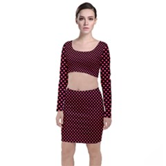 Sexy Red And Black Polka Dot Long Sleeve Crop Top & Bodycon Skirt Set