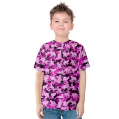 Hot Pink Catmouflage Camouflage Kids  Cotton Tee