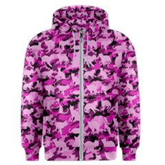 Hot Pink Catmouflage Camouflage Men s Zipper Hoodie