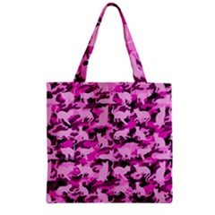 Hot Pink Catmouflage Camouflage Zipper Grocery Tote Bag