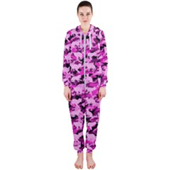 Hot Pink Catmouflage Camouflage Hooded Jumpsuit (ladies)