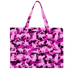 Hot Pink Catmouflage Camouflage Zipper Large Tote Bag
