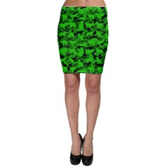 Bright Neon Green Catmouflage Bodycon Skirt
