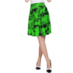 Bright Neon Green Catmouflage A Line Skirt