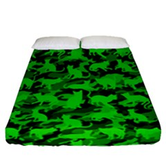 Bright Neon Green Catmouflage Fitted Sheet (queen Size)