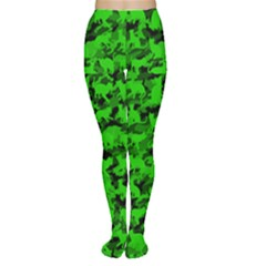 Bright Neon Green Catmouflage Women s Tights
