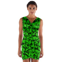 Bright Neon Green Catmouflage Wrap Front Bodycon Dress