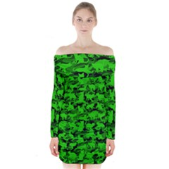 Bright Neon Green Catmouflage Long Sleeve Off Shoulder Dress