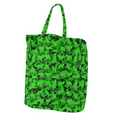 Bright Neon Green Catmouflage Giant Grocery Zipper Tote