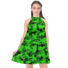 Bright Neon Green Catmouflage Halter Neckline Chiffon Dress