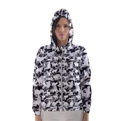 Black And White Catmouflage Camouflage Hooded Wind Breaker (women)