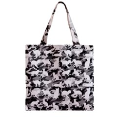 Black And White Catmouflage Camouflage Zipper Grocery Tote Bag