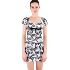Black And White Catmouflage Camouflage Short Sleeve Bodycon Dress