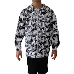 Black And White Catmouflage Camouflage Hooded Wind Breaker (kids)