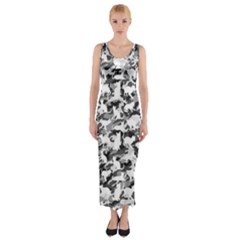 Black And White Catmouflage Camouflage Fitted Maxi Dress