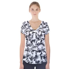 Black And White Catmouflage Camouflage Short Sleeve Front Detail Top