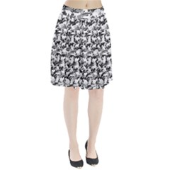 Black And White Catmouflage Camouflage Pleated Skirt
