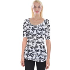 Black And White Catmouflage Camouflage Wide Neckline Tee