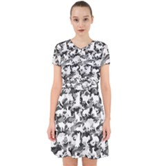 Black And White Catmouflage Camouflage Adorable In Chiffon Dress
