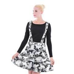 Black And White Catmouflage Camouflage Suspender Skater Skirt