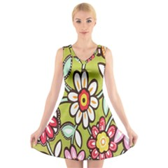 Flowers Fabrics Floral Design V Neck Sleeveless Skater Dress