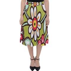 Flowers Fabrics Floral Design Folding Skater Skirt