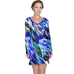 Abstract Background Blue White Long Sleeve Nightdress