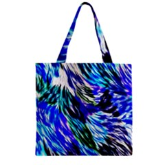 Abstract Background Blue White Zipper Grocery Tote Bag