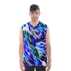 Abstract Background Blue White Men s Basketball Tank Top