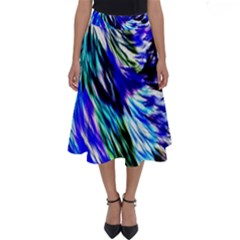 Abstract Background Blue White Perfect Length Midi Skirt